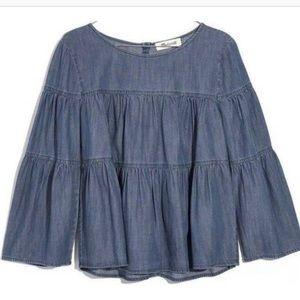 MADEWELL tiered denim shirt sz Small